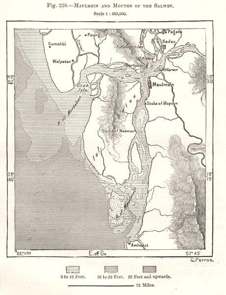Associate Product Mawlamyine and Mouths of the Salween. Burma Myanmar. Sketch map 1885 old