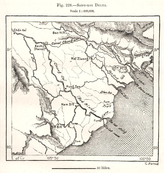 Associate Product Red River Delta. Vietnam. Sketch map 1885 old antique vintage plan chart