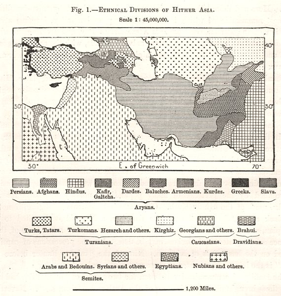 Associate Product Middle East ethnic divisions. South west Asia. Sketch map 1885 old antique