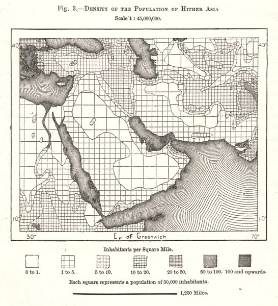 Associate Product Middle East population density. Sketch map 1885 old antique plan chart