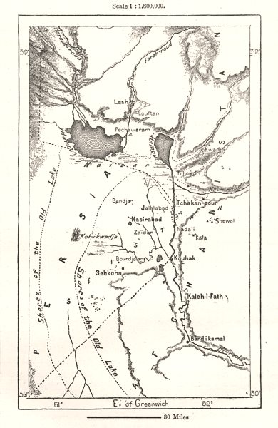 Associate Product The Hamun Basin. Hamoon. Iran Afghanistan. Sketch map 1885 old antique