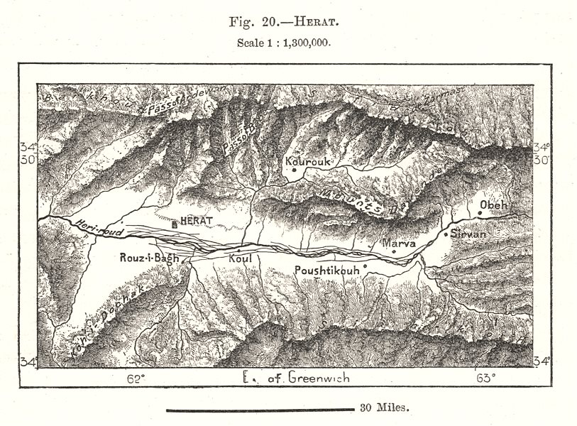 Associate Product Herat environs. Afghanistan. Sketch map 1885 old antique plan chart