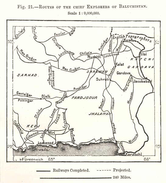 Associate Product Routes of the Chief Explorers of Baluchistan. Pakistan. Sketch map 1885