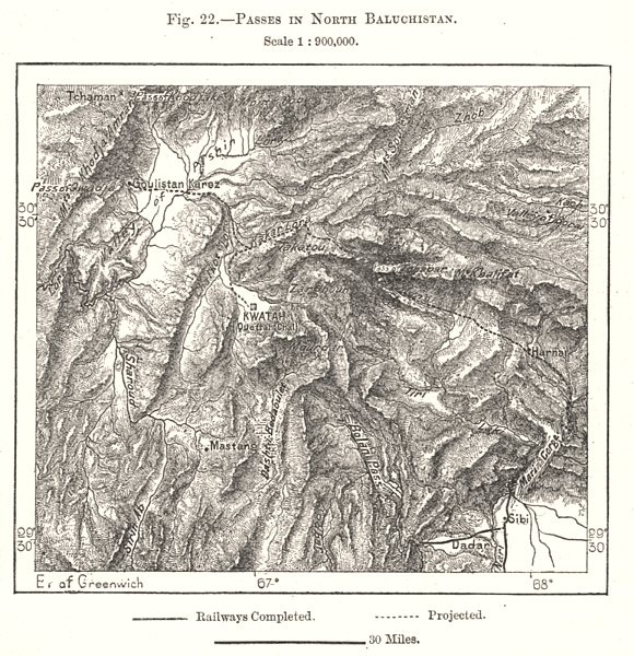 Associate Product Passes in North Baluchistan. Pakistan. Sketch map 1885 old antique chart