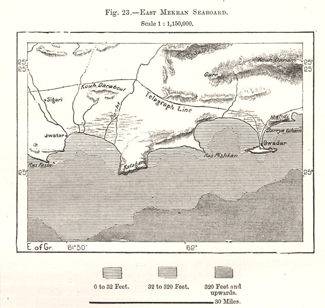 Associate Product East Makran Seaboard. Gwadar. Pakistan. Sketch map 1885 old antique chart