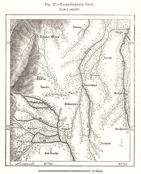 Associate Product Kachi-Gandava Oasis. Pakistan. Sketch map 1885 old antique plan chart