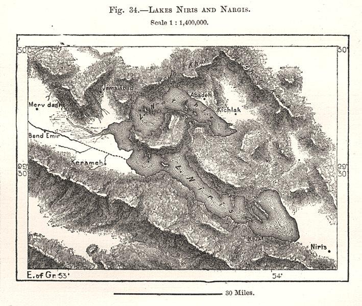 Associate Product Lakes Bakhtegan and Tashk. Iran. Sketch map 1885 old antique plan chart