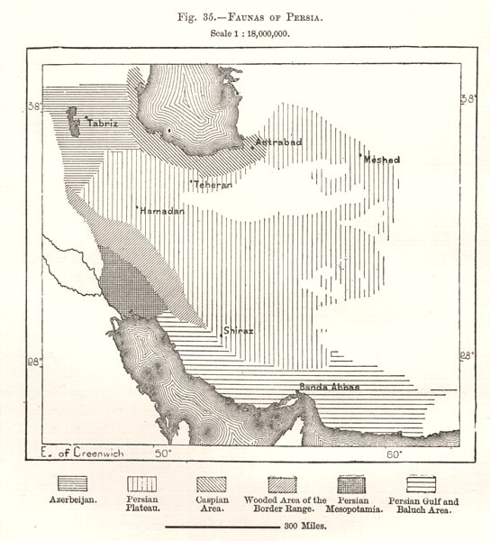 Associate Product Faunas of Persia (Iran). Iran. Sketch map 1885 old antique plan chart