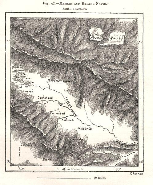 Associate Product Mashhad and Kelat-Nadir. Iran. Sketch map 1885 old antique plan chart