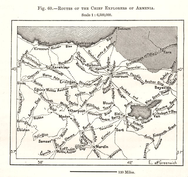 Associate Product Routes of the Chief Explorers of Armenia. Turkey. Sketch map 1885 old