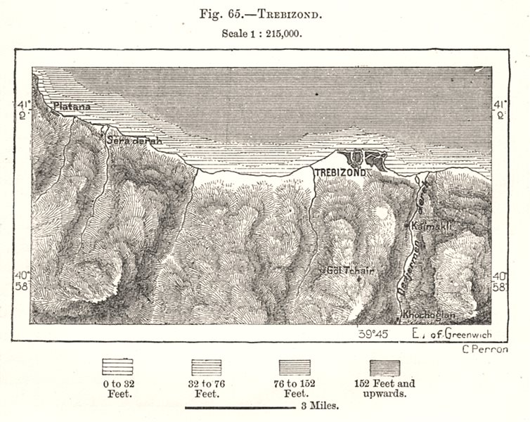 Associate Product Trabzon & environs. Turkey. Sketch map 1885 old antique vintage plan chart