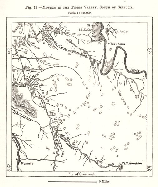 Associate Product Mounds in the Tigris Valley, South of Seleucia. Iraq. Sketch map 1885 old