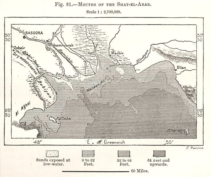 Associate Product Mouths of the Shatt-al-Arab. Iraq. Sketch map 1885 old antique plan chart