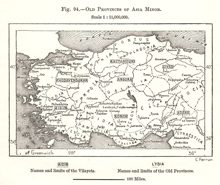 Associate Product Old Provinces of Asia Minor. Anatolia. Turkey. Sketch map 1885 antique