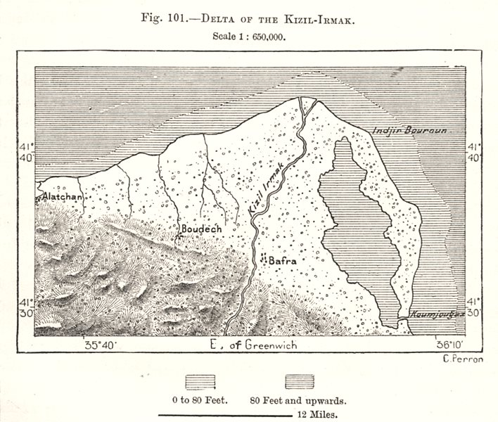 Associate Product Delta of the Kizilirmak (Red River). Turkey. Sketch map 1885 old antique
