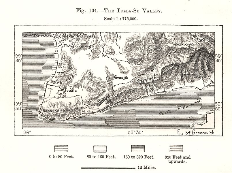 Associate Product The Tuzla-Su Valley. Turkey. Sketch map 1885 old antique plan chart