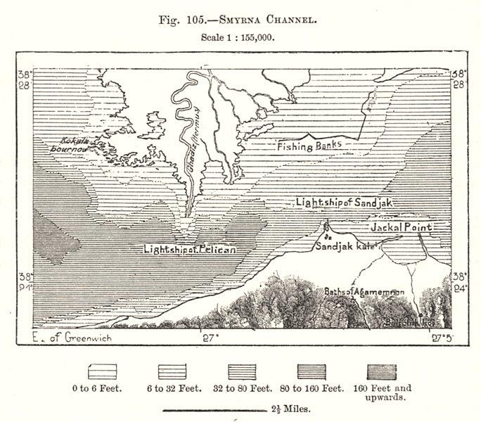 Associate Product Smyrna Channel. Izmir Turkey. Sketch map 1885 old antique plan chart