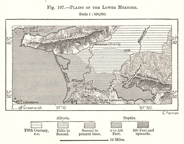 Associate Product Plains of the Lower Buyuk Menderes. Turkey. Sketch map 1885 old antique