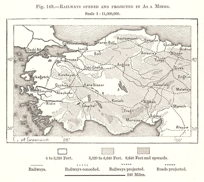 Associate Product Railways Opened and Projected in Asia Minor. Turkey. Sketch map 1885 old