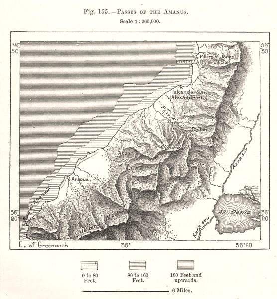 Associate Product Passes of the Amanus. Iskenderun. Turkey. Sketch map 1885 old antique