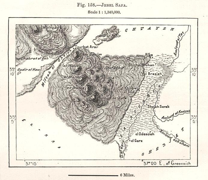 Jebel Safa. Syria. Sketch map 1885 old antique vintage plan chart