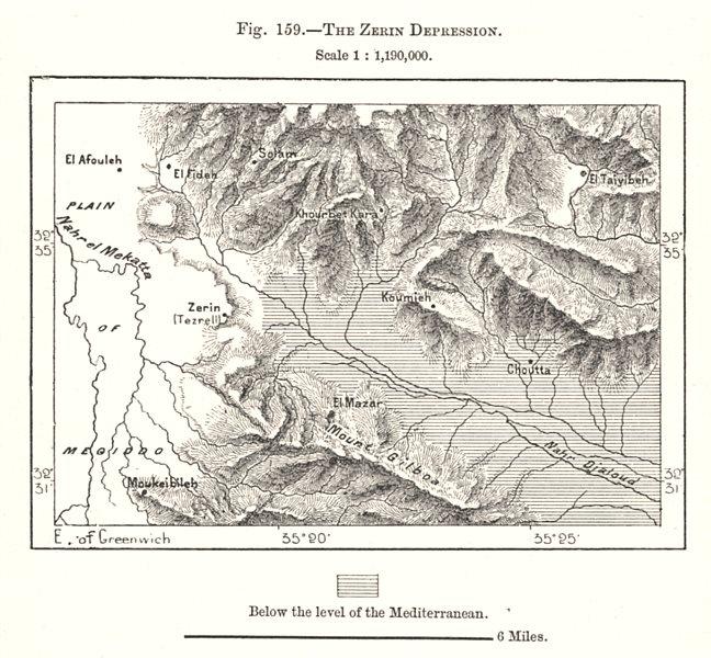 Associate Product Mount Gilboa. Jezreel Valley. Zerin Depression. Israel. Sketch map 1885