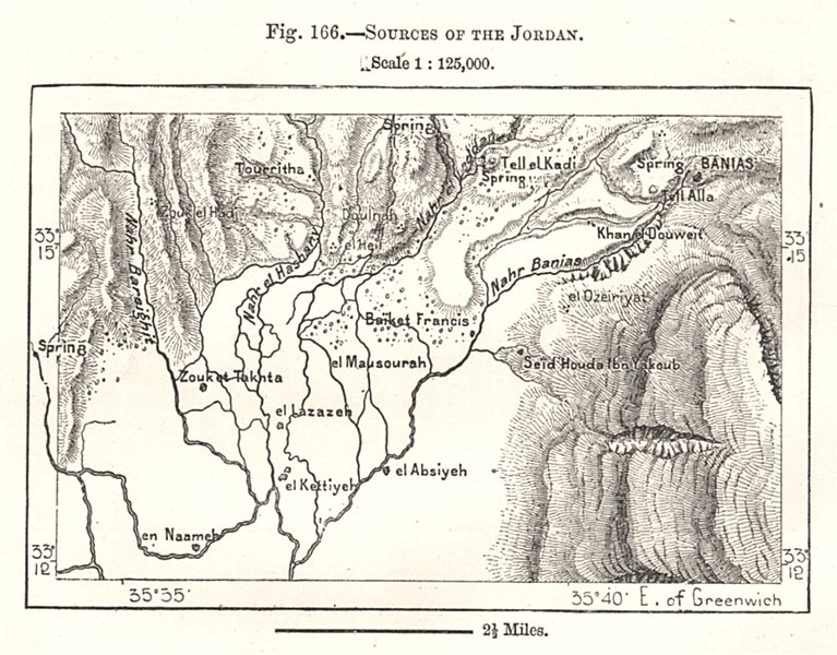 Associate Product Sources of the Jordan river. Israel. Sketch map 1885 old antique chart