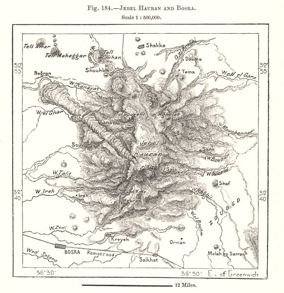 Associate Product Jebel Hauran and Busra. Syria. Sketch map 1885 old antique plan chart