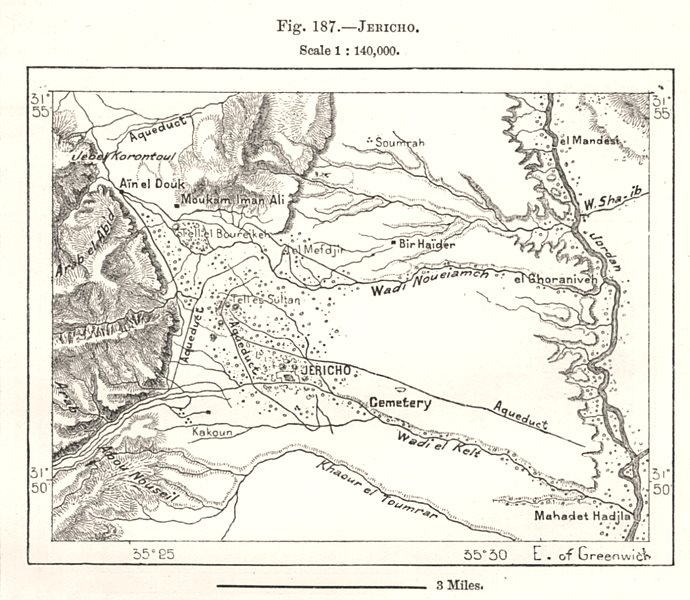 Associate Product Jericho & environs. Palestine. Sketch map 1885 old antique plan chart