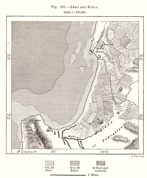 Associate Product Akko Acre and Haifa. Israel. Sketch map 1885 old antique plan chart