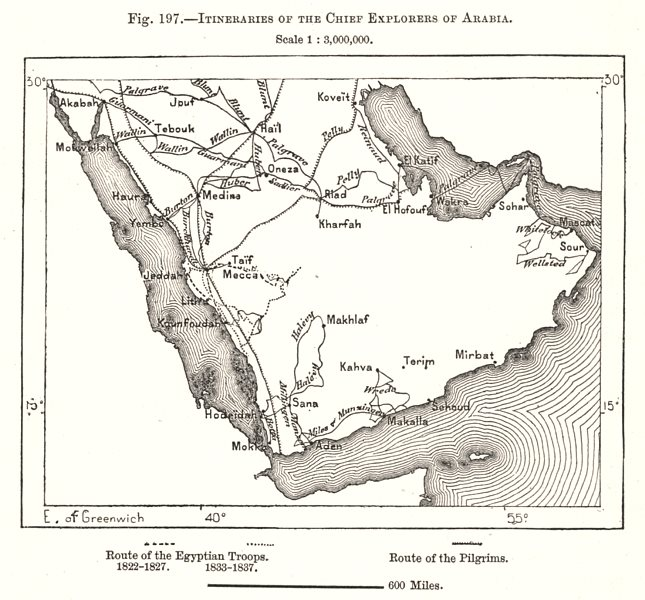 Associate Product Itineraries of the Chief Explorers of Arabia. Sketch map 1885 old antique