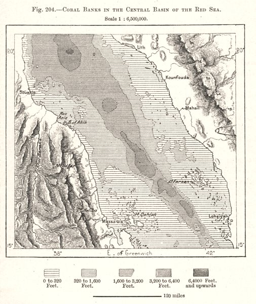 Associate Product Coral Banks in the Central Basin of the Red Sea. Middle East. Sketch map 1885
