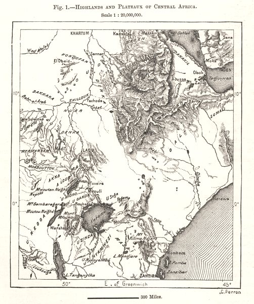 Associate Product Highlands and Plateaux of Central & East Africa. Sketch map 1885 old