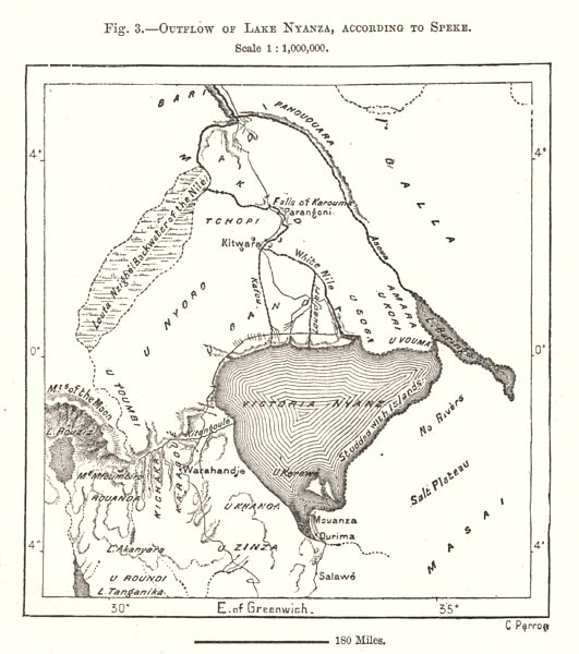 Associate Product Outflow of Lake Victoria, according to Speke. East Africa. Sketch map 1885