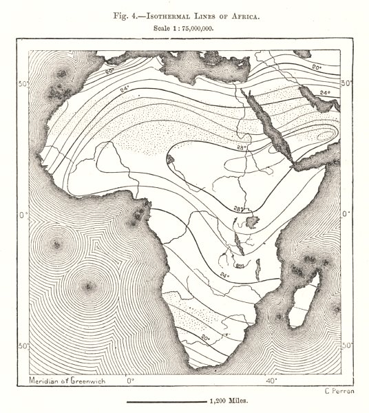 Associate Product Isothermal Lines of Africa. Sketch map 1885 old antique vintage plan chart