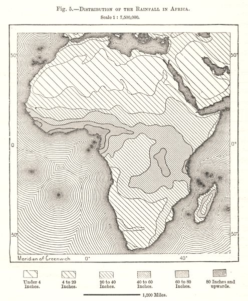 Associate Product Distribution of the Rainfall in Africa. Sketch map 1885 old antique chart