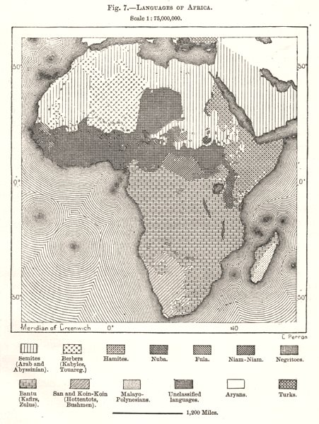 Associate Product Languages of Africa. Sketch map 1885 old antique vintage plan chart