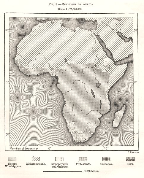 Associate Product Religions of Africa. Sketch map 1885 old antique vintage plan chart