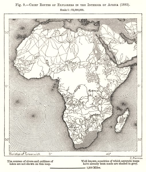 Associate Product Chief Routes of Explorers in the Interior of Africa (1883). Sketch map 1885