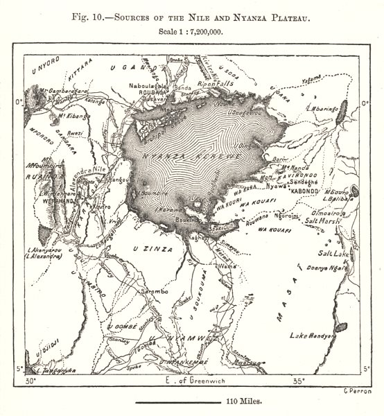 Associate Product Sources of the Nile. Nyanza Plateau. Lake Victoria. East Africa. Sketch map 1885