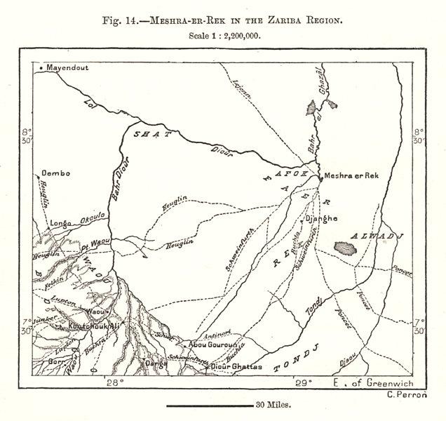 Associate Product Meshra-Er-Rek in the Zariba Region. Sudan. Sketch map 1885 old antique