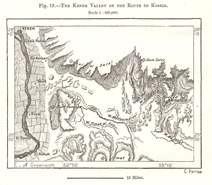 Associate Product The Qena (Keneh) Valley of the Route to Quseer (Koseir). Egypt. Sketch map 1885