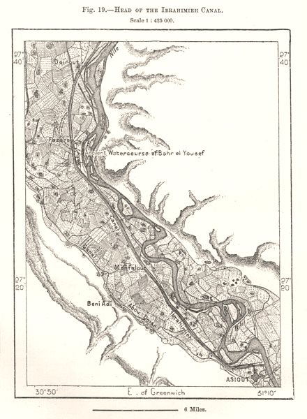Associate Product Head of the Ibrahimiyah Canal. Egypt. Sketch map 1885 old antique chart