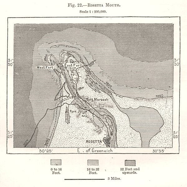 Associate Product Rosetta Mouth of the Nile. Egypt. Sketch map 1885 old antique plan chart