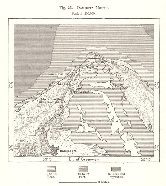 Damietta Mouth of the Nile. Egypt. Sketch map 1885 old antique plan chart