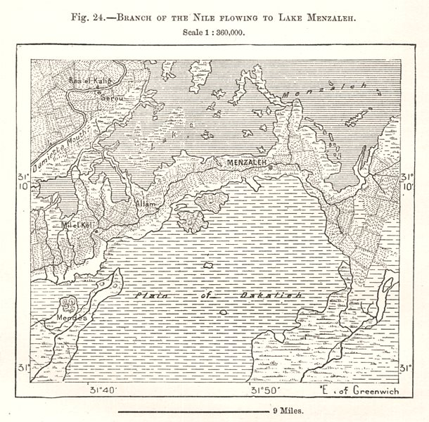 Associate Product Branch of the Nile Flowing to Lake Manzala. Egypt. Sketch map 1885 old