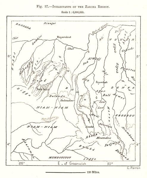 Associate Product Inhabitants of the Zariba Region. Sudan. Sketch map 1885 old antique chart