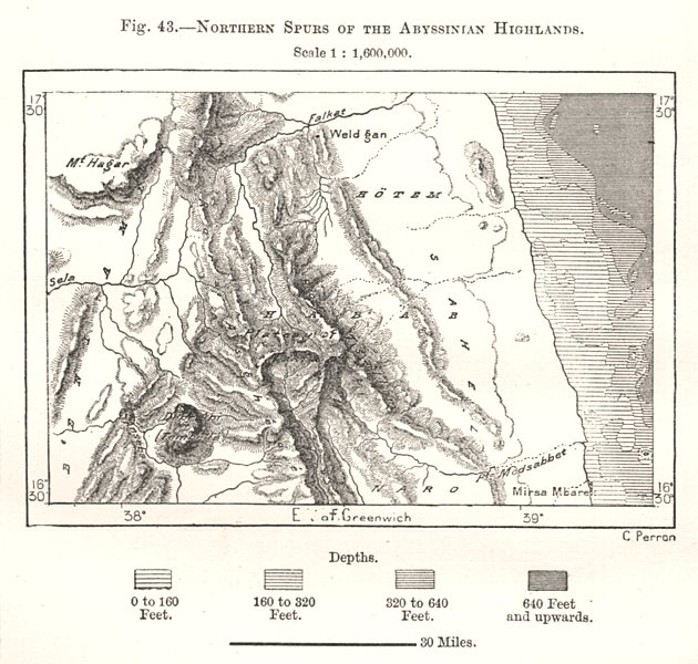 Associate Product Northern Spurs of the Abyssinian Highlands. Eritrea. Sketch map 1885 old