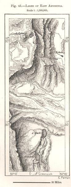 Associate Product Lakes of East Abyssinia. Lake Hayk & Hashenge Ethiopia. Sketch map 1885