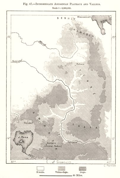 Associate Product Intermediate Abyssinian Plateaux & Valleys. Lake Tana. Ethiopia. Sketch map 1885